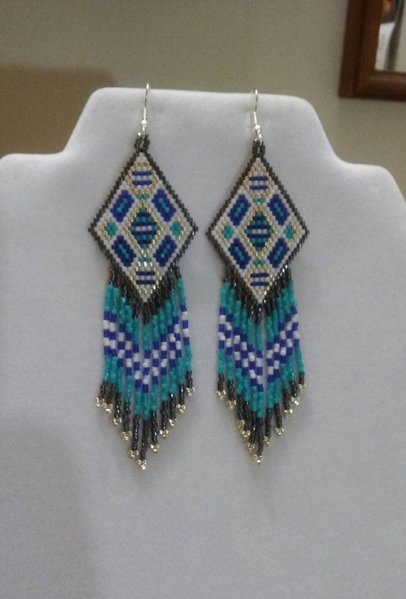 Native American Style Beaded Geometric by BeadedCreationsetc