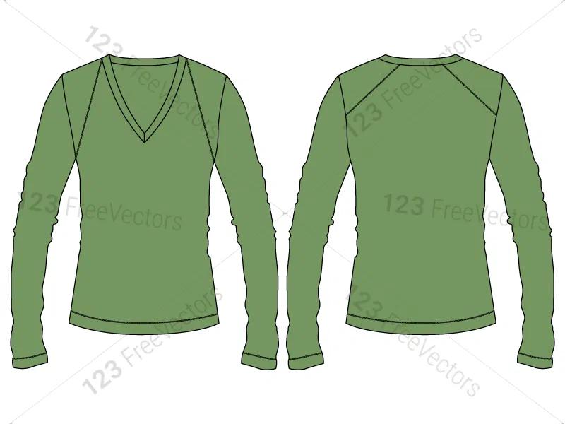 Download Women S Long Sleeve T Shirt Template Vector And Psd Pack 01 Shirt Template Long Sleeve Long Sleeve Tshirt