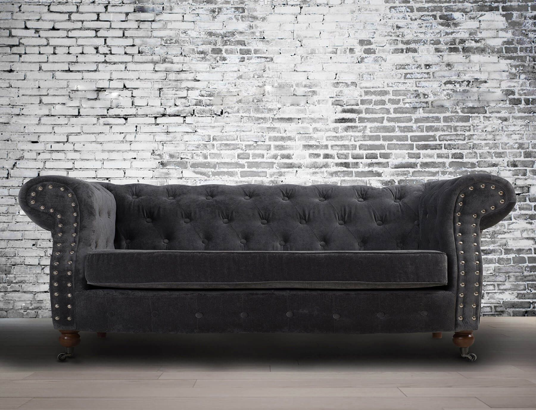 Fabric Chesterfield Chenille Dark Grey 2 Seater Belmont Sofa Blue Fabric Sofa Chesterfield Sofa Living Room Fabric Sofa