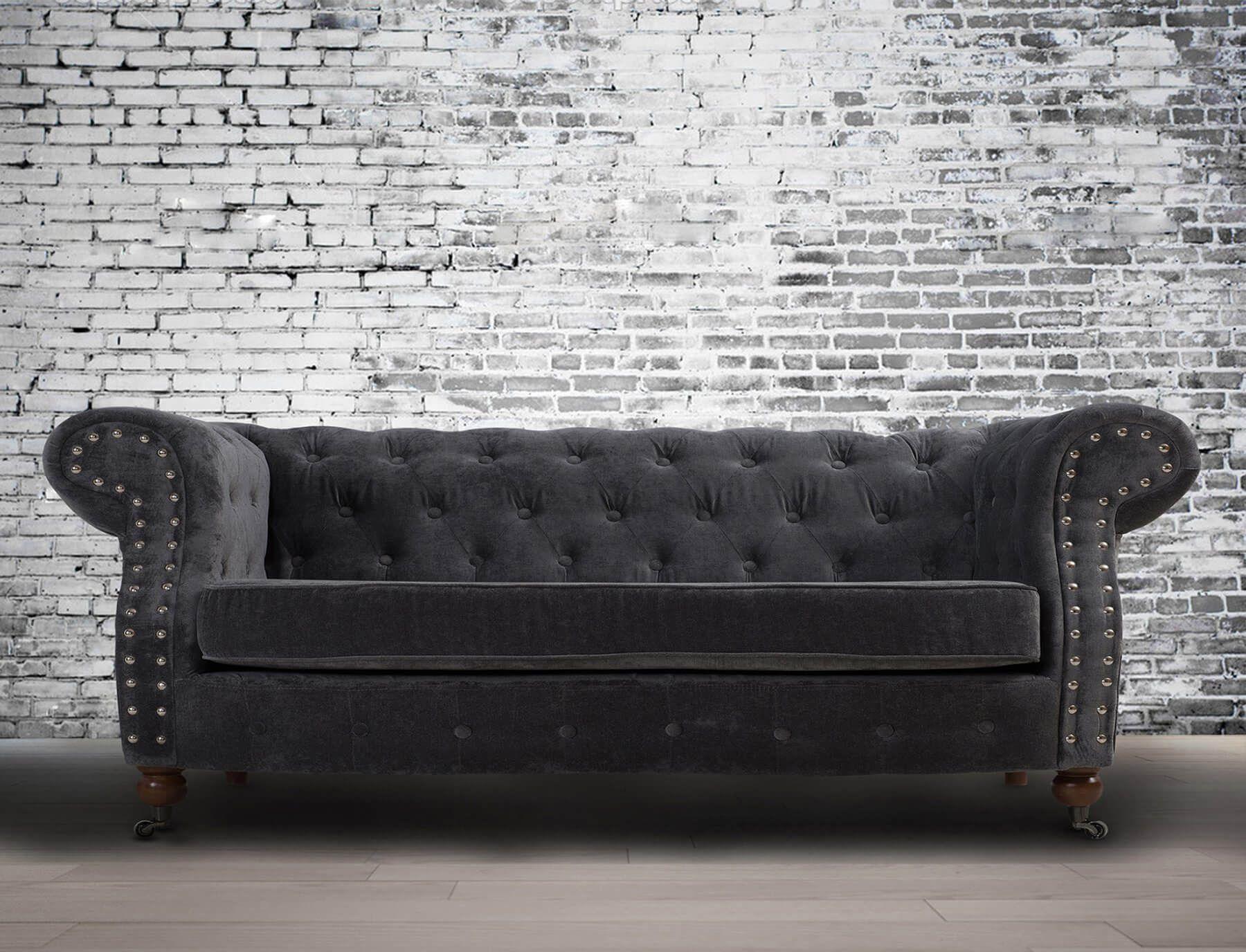 Fabric Chesterfield Chenille Dark Grey 2 Seater Belmont Sofa