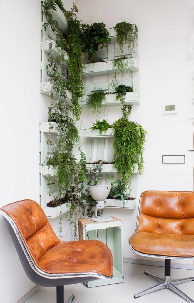 vertical garden idea for balcony made of pallets