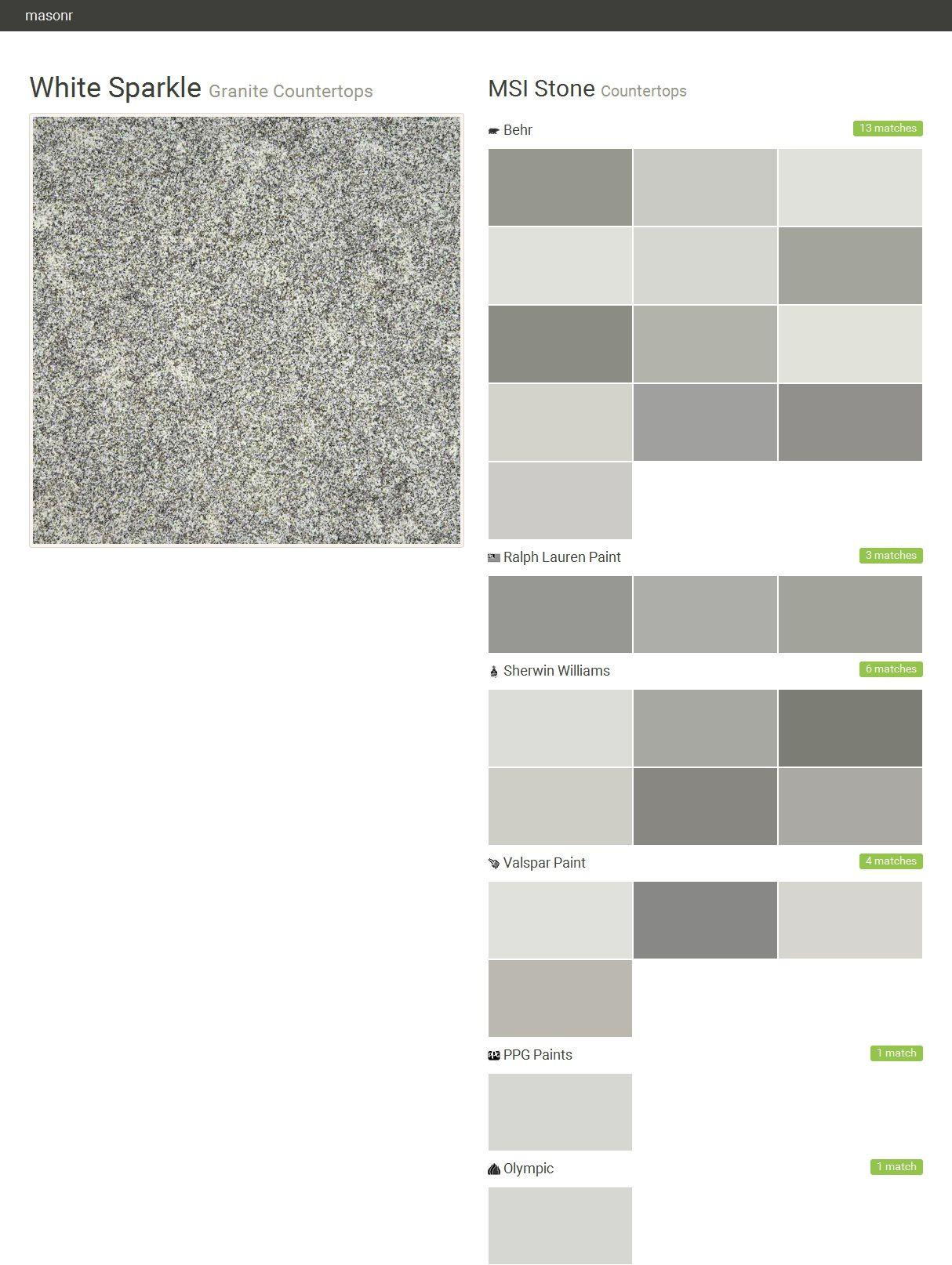 White sparkle granite countertops countertops msi stone for Valspar paint colors