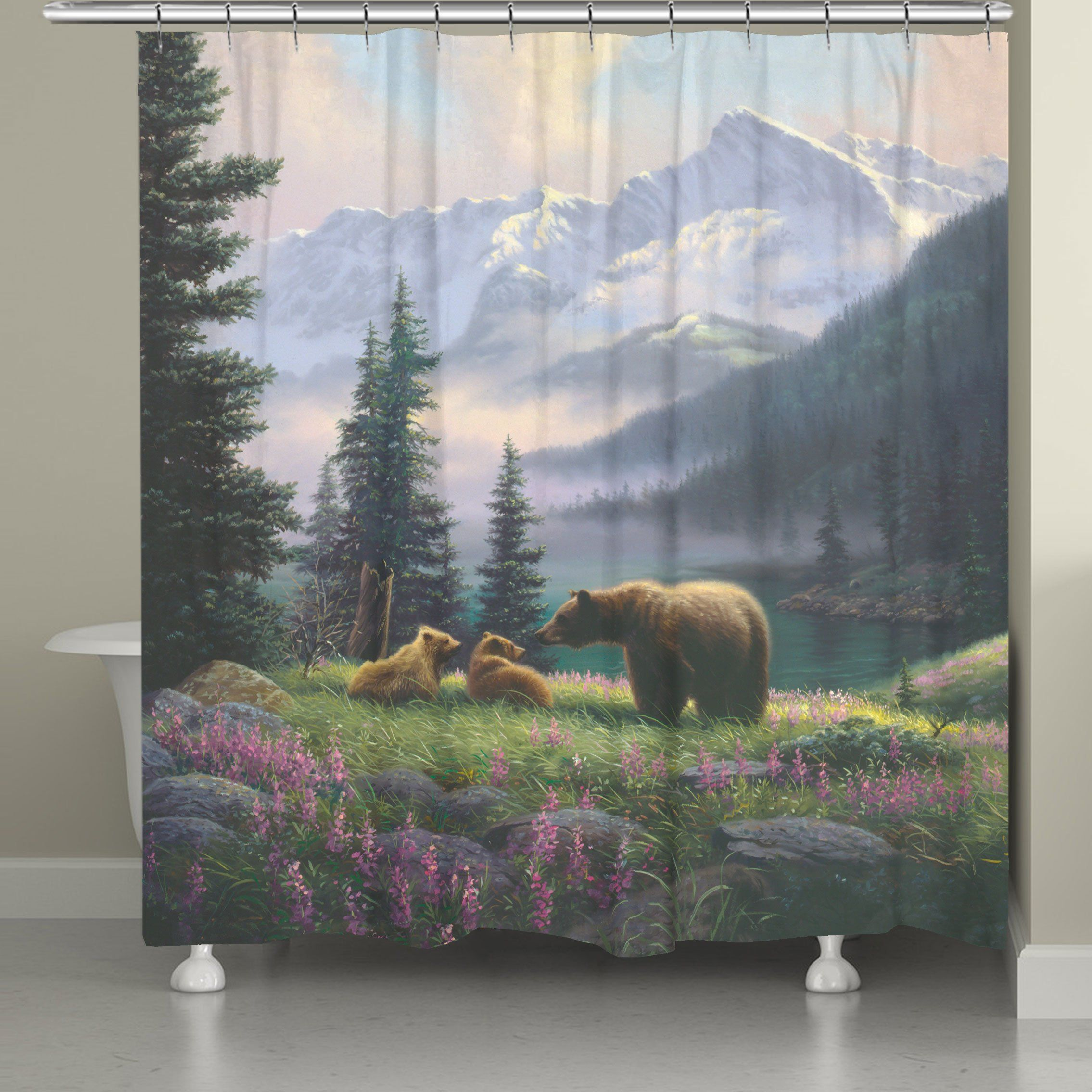 Mountain Bear With Cubs Shower Curtain In 2020