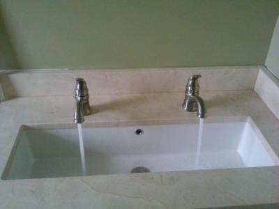 Scarabeo Undercounter 34 Trough Sink With Dual Faucets With