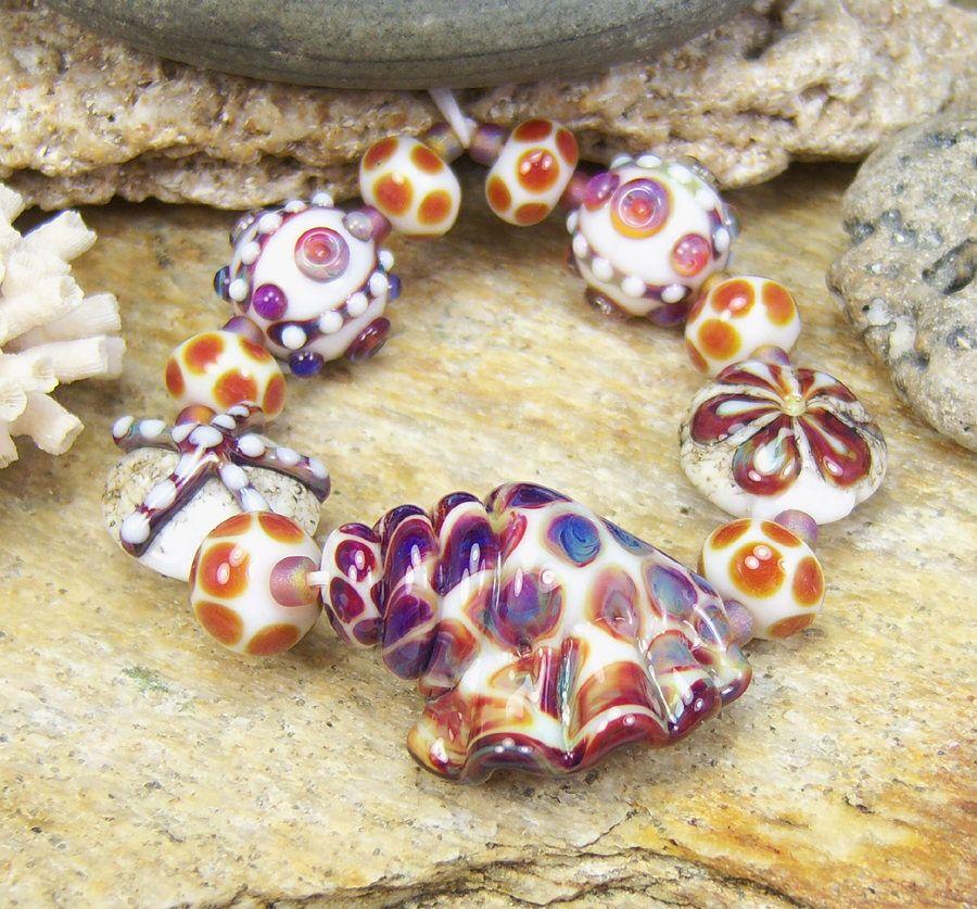 15 MM 4 perles Lampwork avec motif floral
