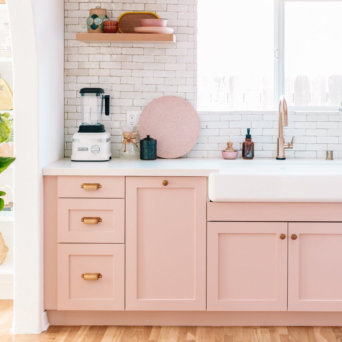 Beautiful Soft Blush Kitchen from Studio DIY - Eclectic kitchen, Kitchen trends, Modern kitchen, Kitchen renovation, Kitchen design, Kitchen remodel - Design Studio DIY Photographer Jeff Mindell Location Los Angeles, CA Paint color DunnEdwards Galveston Tan