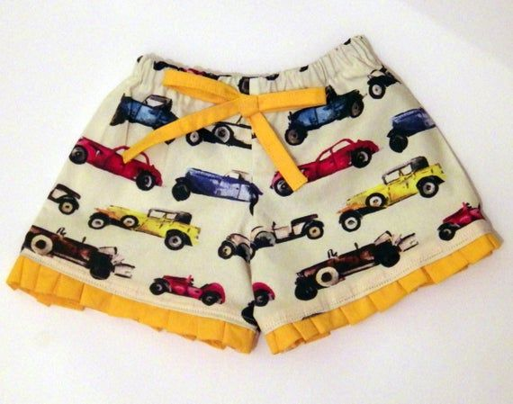 Girl's Car Shorts, Girls Clothing, Shorts for Girls, Car Gift, Toddler Clothing, Baby Girl Clothing, Gift for Girls