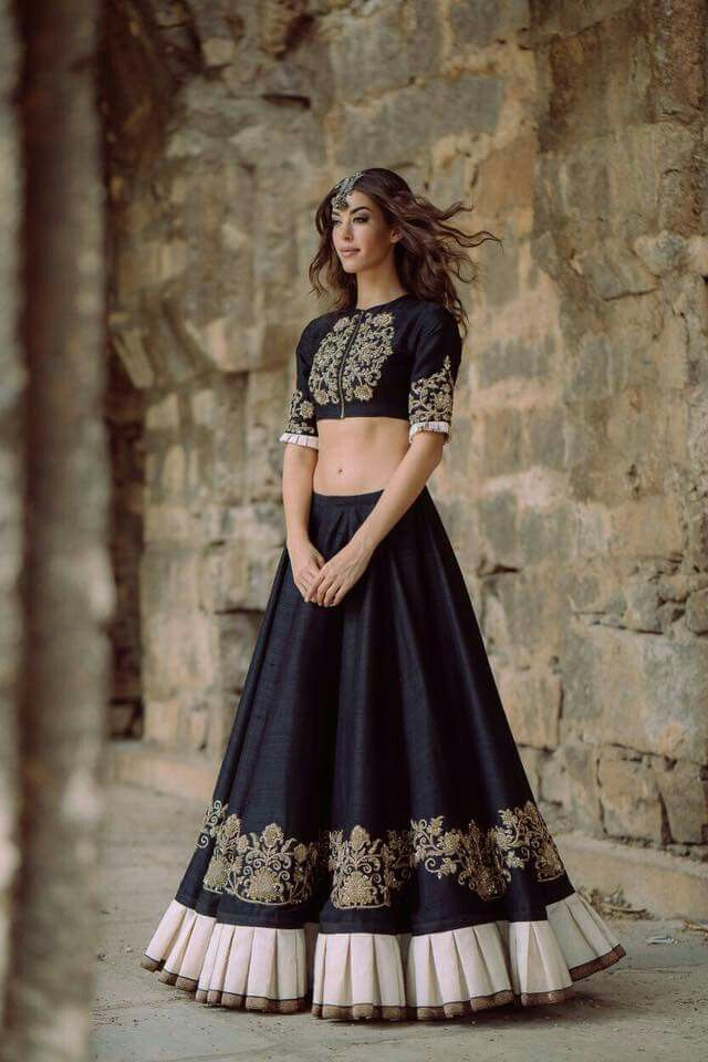703ade726f Black and gold lehenga with some lovely details. Latest collection of crop  top lehengas ...