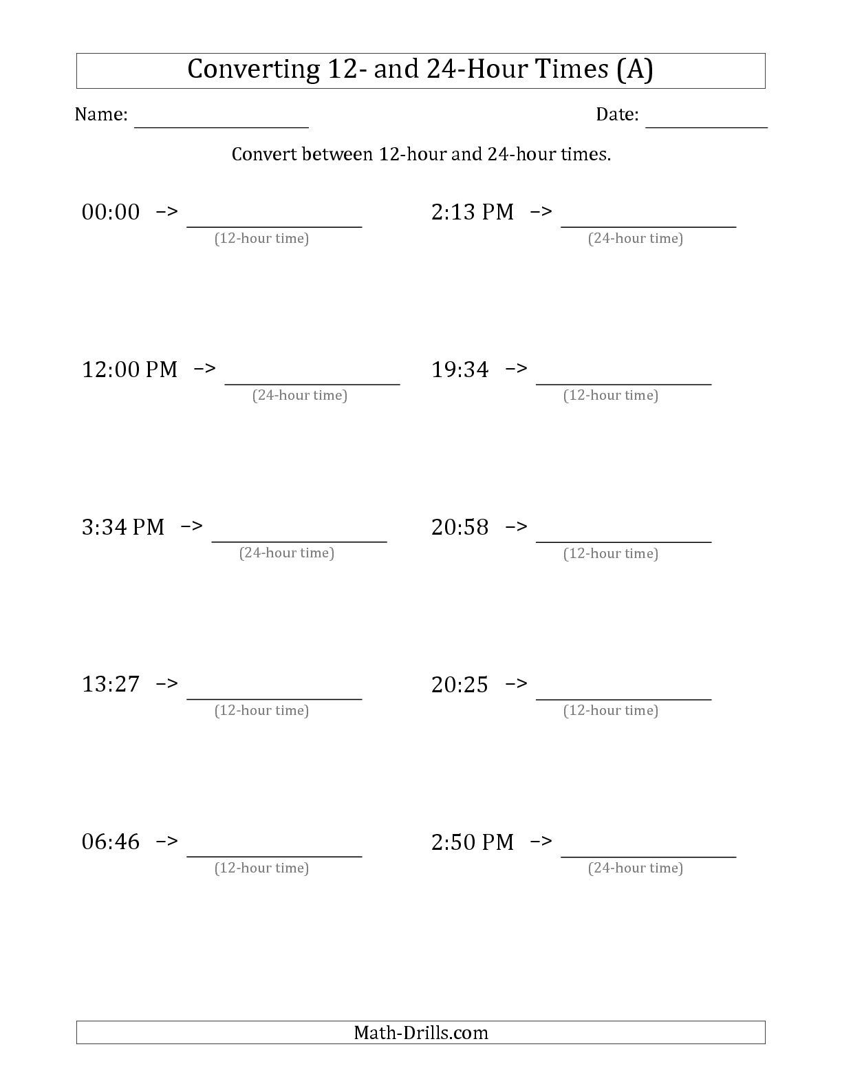 The Converting Between 12 Hour And 24 Hour Times A Time Worksheet