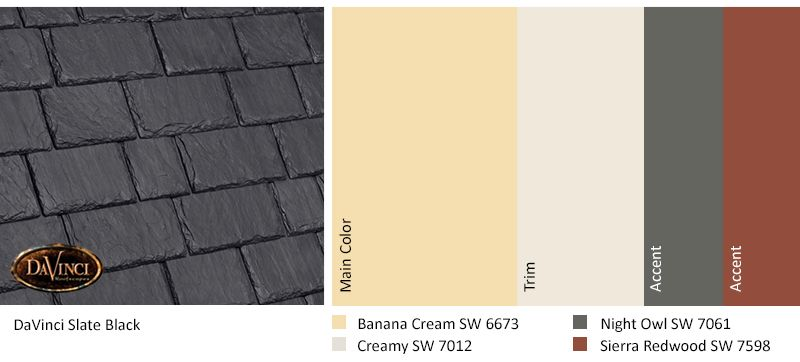Best Davinci Slate Black Banana Cream Home Exterior Color 640 x 480