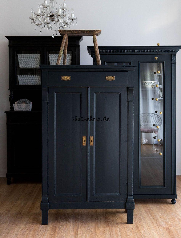 Vitrine Und Shabby Vertiko Farbe Black Blue Farrow Ball At Home