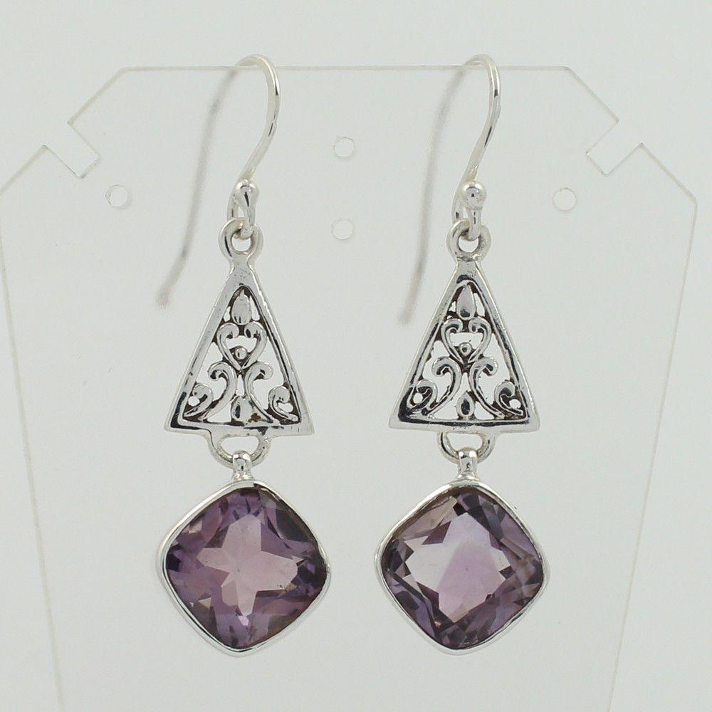 New Lovely Design Earrings 925 Solid Sterling Silver Genuine AMETHYST Gemstones #SunriseJewellers #DropDangle