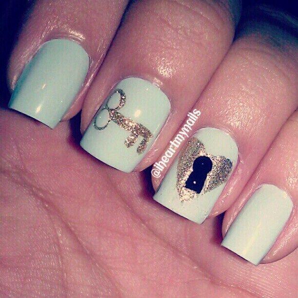 Cute lock key baby blue and gold nail design cute nail designs cute lock key baby blue and gold nail design prinsesfo Choice Image