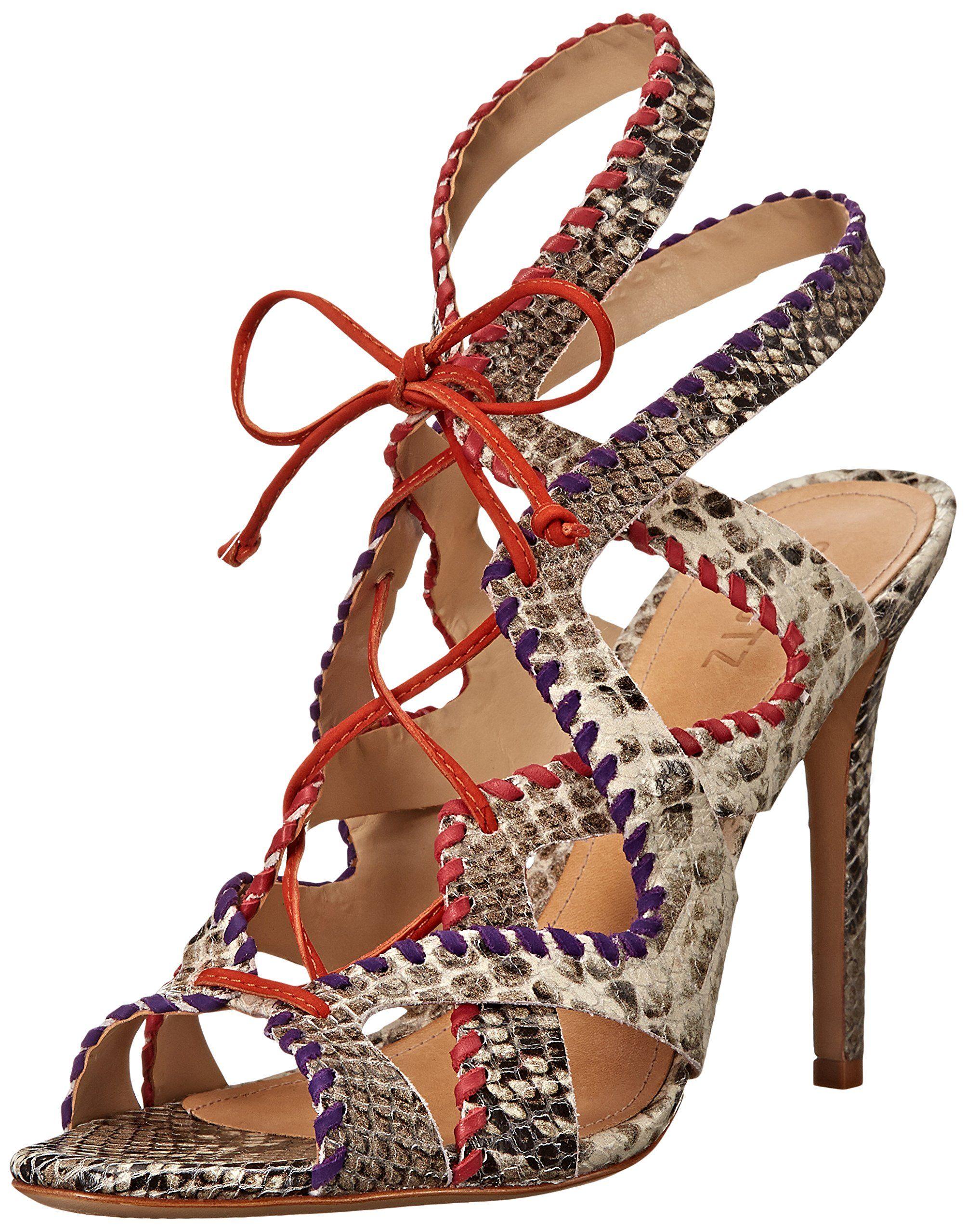 Schutz Women's Lenna Dress Sandal, Pearl/Violet/Red/Nectarina, 8.5 M