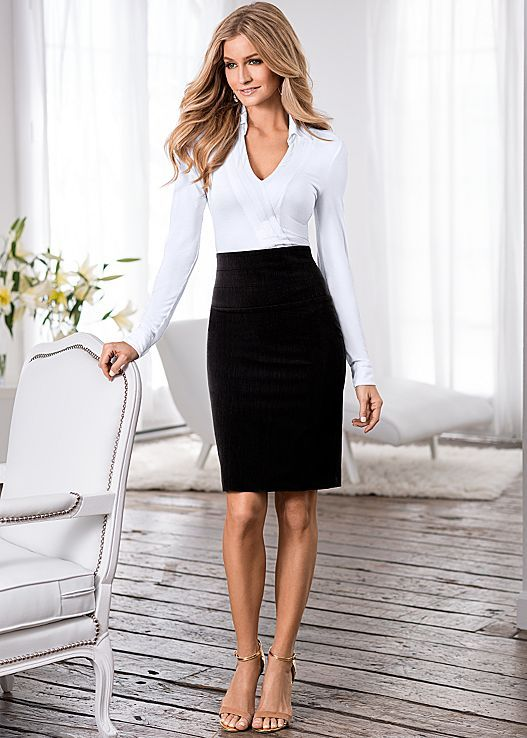 4470a58913 Can never have enough pencil skits KNIT SHIRT BODYSUIT, SLIMMING PENCIL  SKIRT, HARDWARE DETAIL SANDAL
