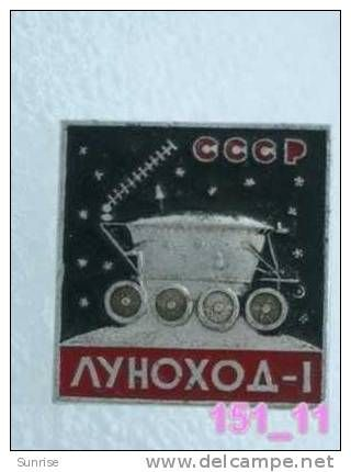 SPACE: spacecraft Lunokhod-1 (Lunokhod, Moon research vehicle, Moon-buggy) / old soviet badge USSR_151_sp7508 - Delcampe.com