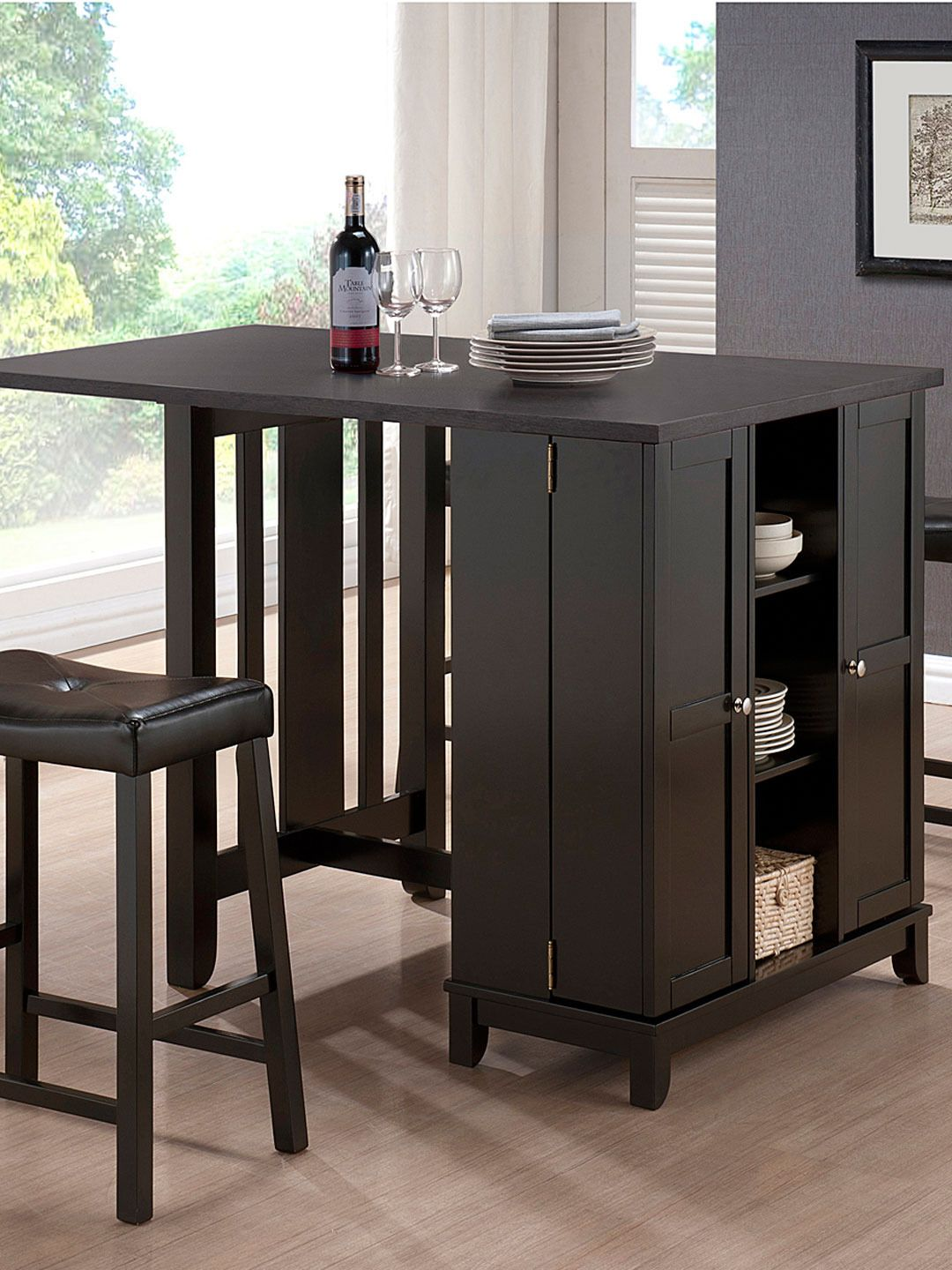 Aurora Modern Pub Table Set With Cabinet Base (5PC)   Gilt Home
