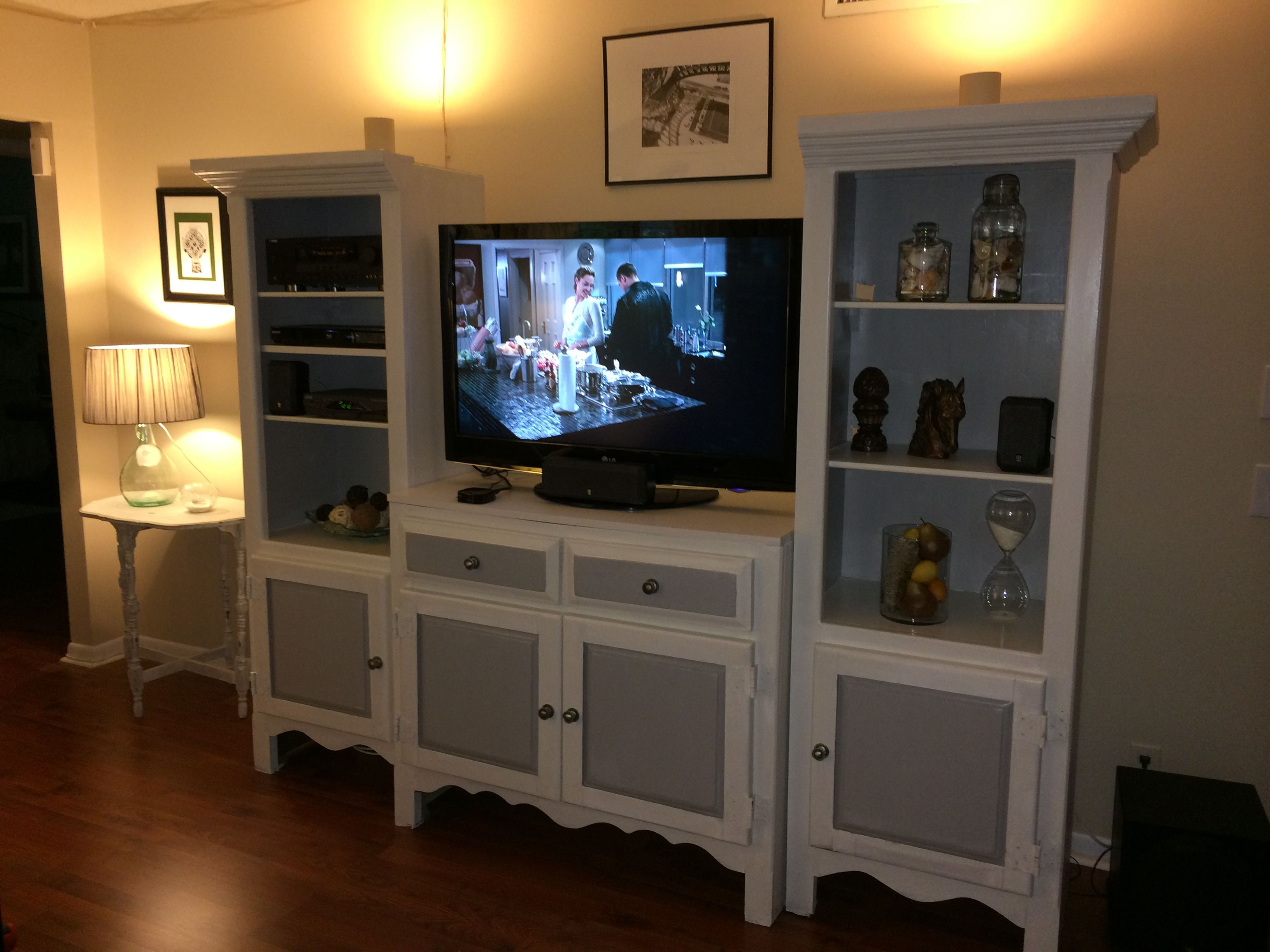 Newly Painted With Chalk Paint Entertainment Center Put Back