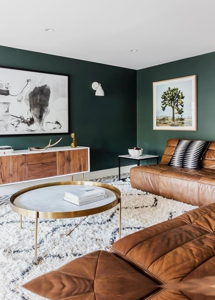 The Magical Combination Of Jade Green Tan Leather Brass Living Room Color Schemes Tiny Living Rooms Living Room Color