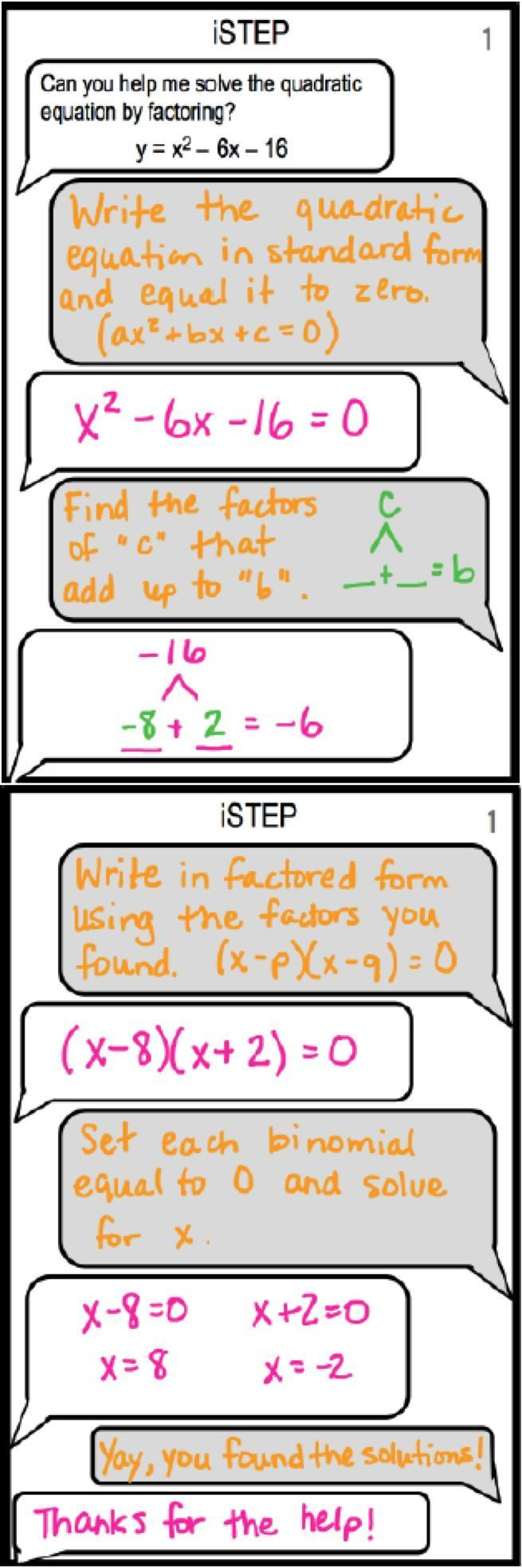 Istep is a spin on imessage students partner up to discuss how to students partner up to discuss how to factor a quadratic equation one student explains how to factor and the other sh pinteres falaconquin