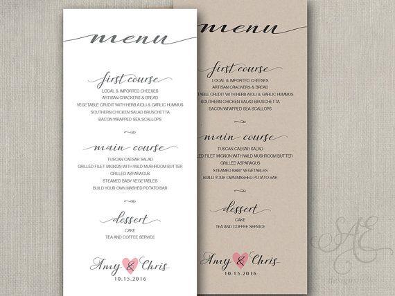 Beautiful Elegant Menu Wedding Reception Table Menu Menus Size - wedding menu