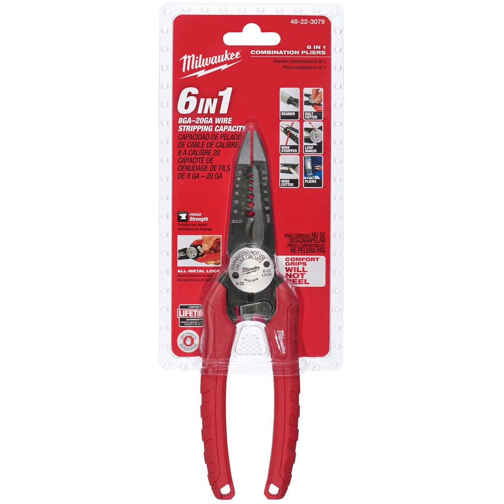 New Milwaukee 6 In 1 combination Long Nose Pliers Home /& Garden Hand Tool