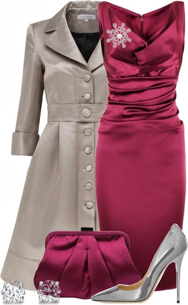 Outfits elegante | Borgonha Vestido