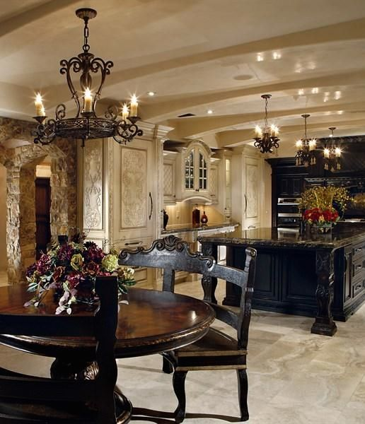 Black And Cream Old World Style Kitchen.