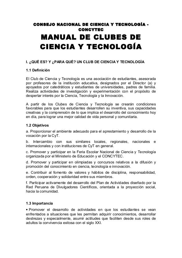 Manuales De Clubes De Ciencia Y Tecnología Concitec Ciencias Clubes