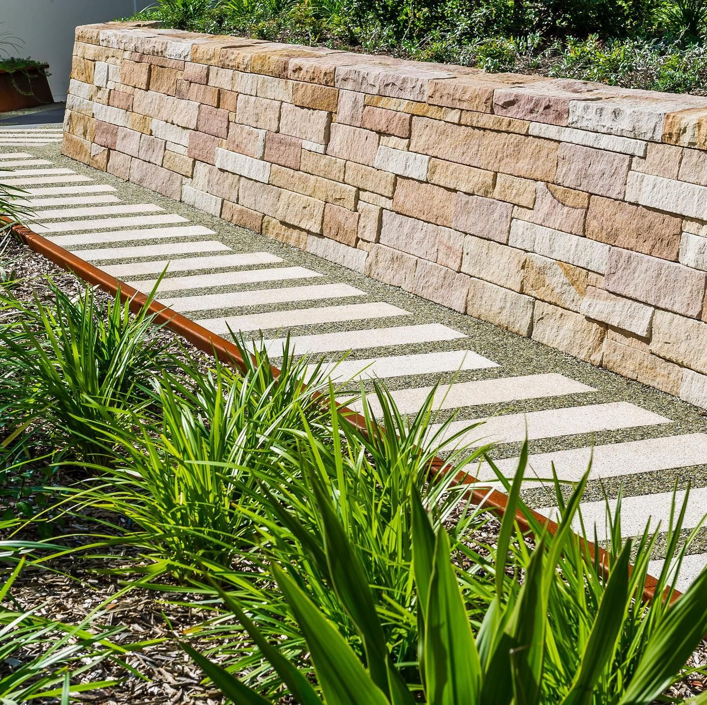 Harold Park Mirvac Custom Honey Jasper Stepping Stones Supply And Installed By Stpm Haroldpark Mirvac Sto In 2020 With Images Paving Stones Landscape Design Stepping Stones