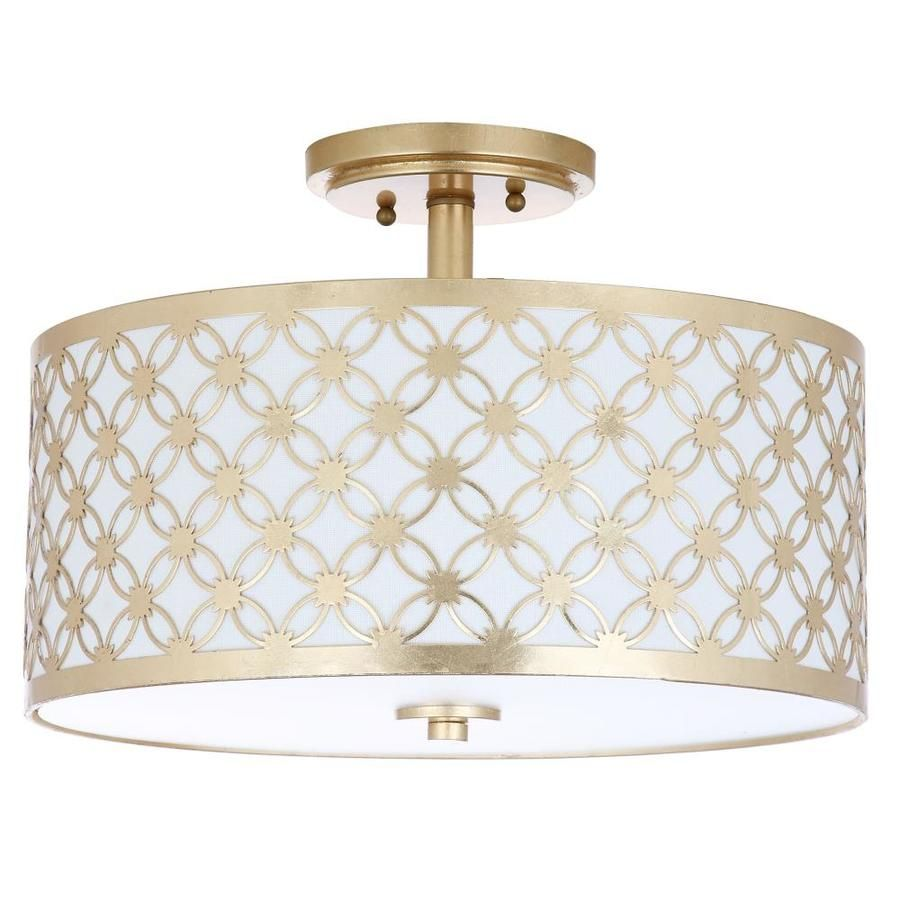 W Gold Fabric Semi Flush Mount Light