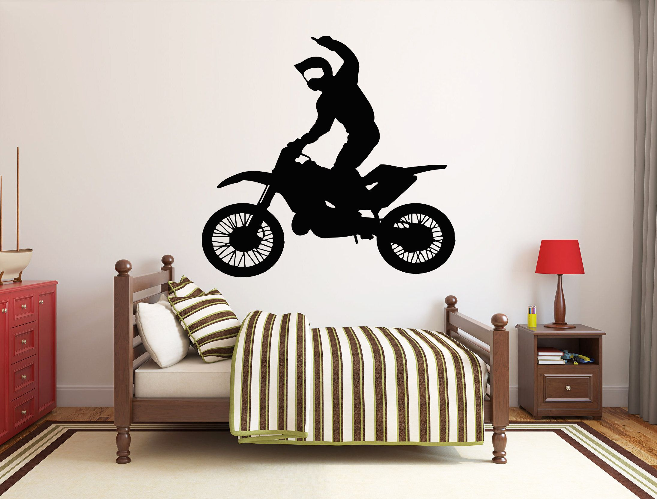 Motocross Wall Decal Motorcycle Wall Sticker Dirt Bike Wall Etsy Wall Decals Map Wall Decal Custom Wall Decal