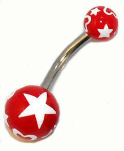 Steel Star Logo Belly Navel Button