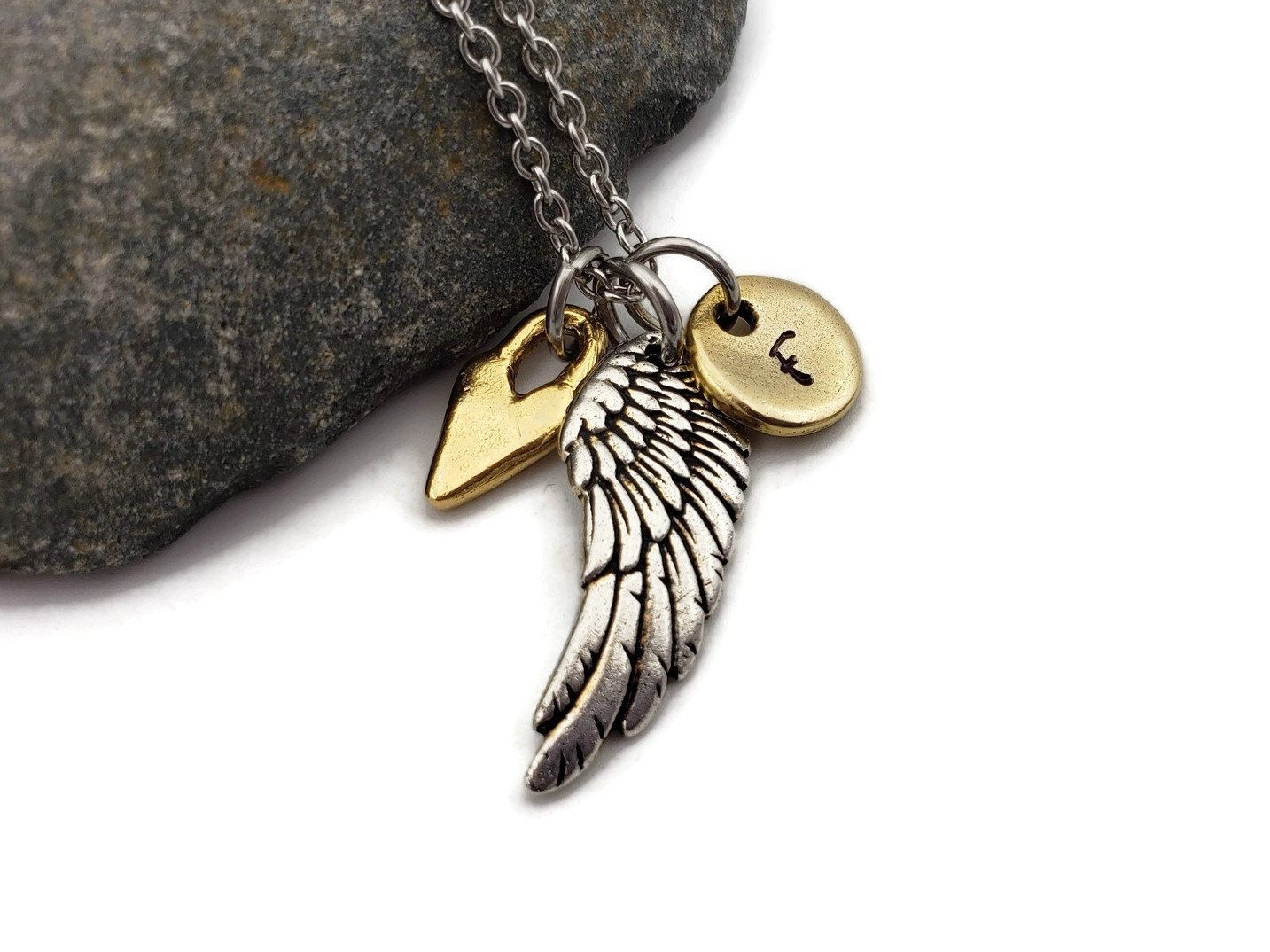Memorial photo necklace infant loss grief jewelry personalized angel wing necklace photo pendant memorial jewelry