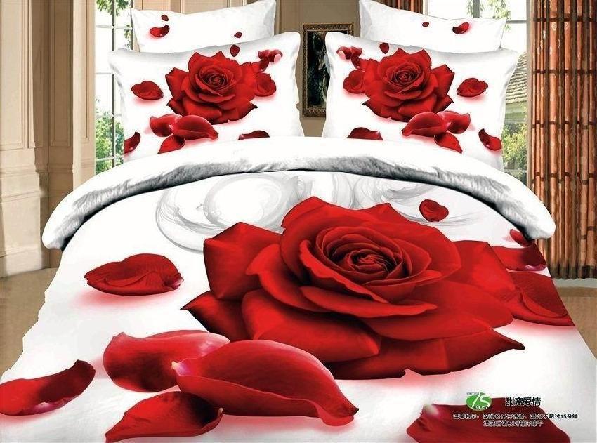 3d White Red Rose Flower Print Bedding Set Sets Queen Size Duvet Cover Sheets Bedspread Bed Sheet Cotton Home Texi Rose Bedroom 3d Bedding Sets Bedding Sets
