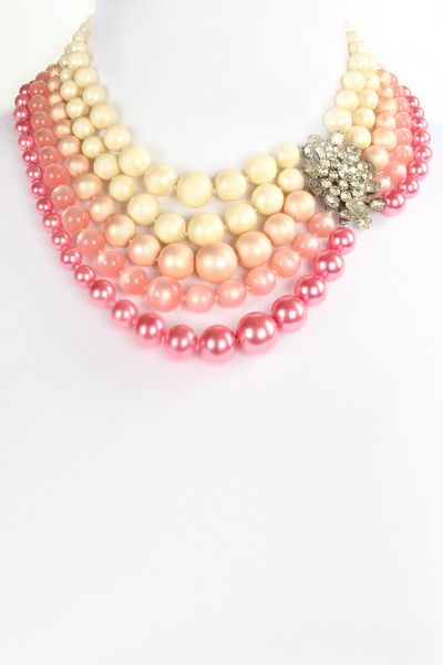 Handcrafted statement necklace by The Ritzy Rose. One of a kind. Wedding jewelry Pink ombre pearls