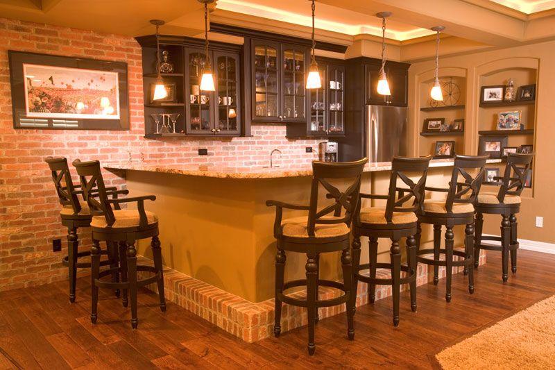Brick Bar / Bar Lighting / Dark Cabinets Basement Bar Plans, Basement Bar  Designs,