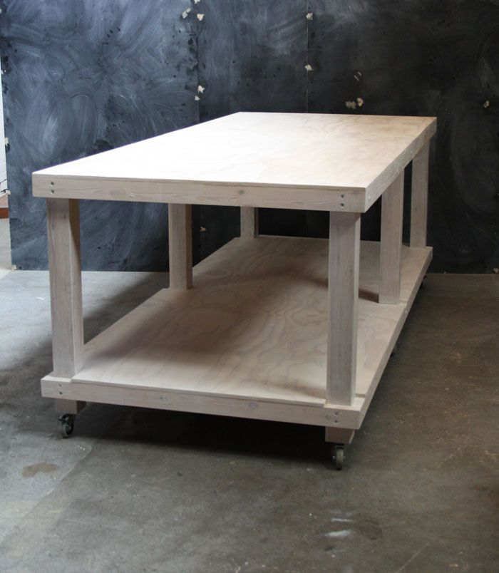 White Limewash Plywood And Pine High Table. 2 Layered Work
