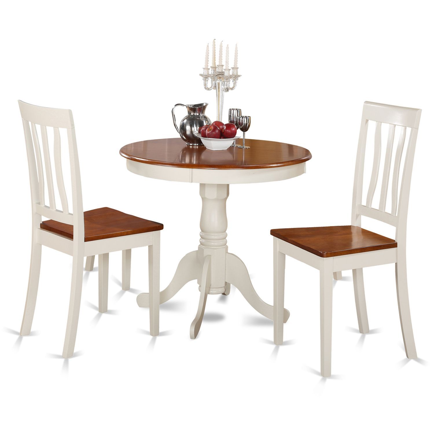 Buttermilk and Cherry Kitchen Table and Two Chair 3-piece Dining Set ...