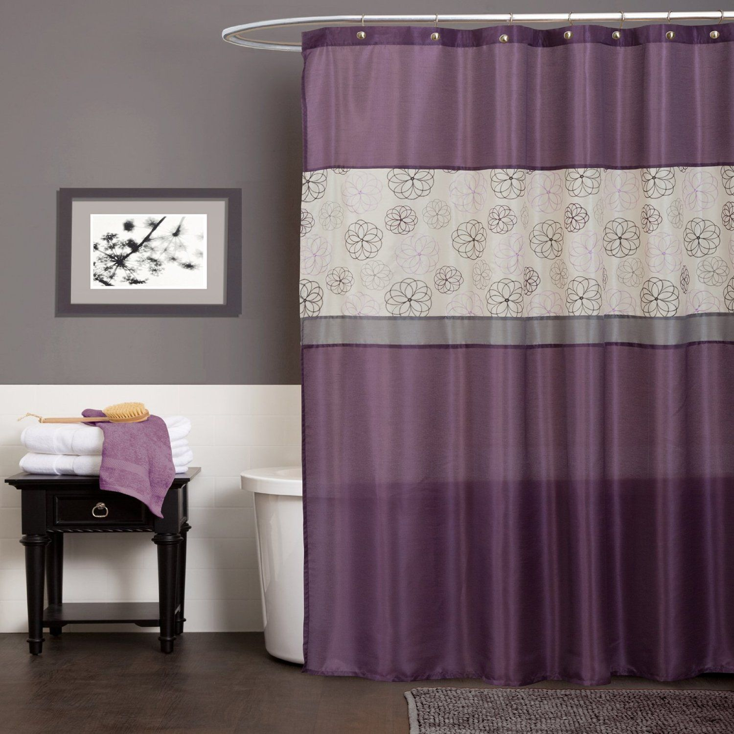 lush decor covina purple shower curtain | curtains - from amazon