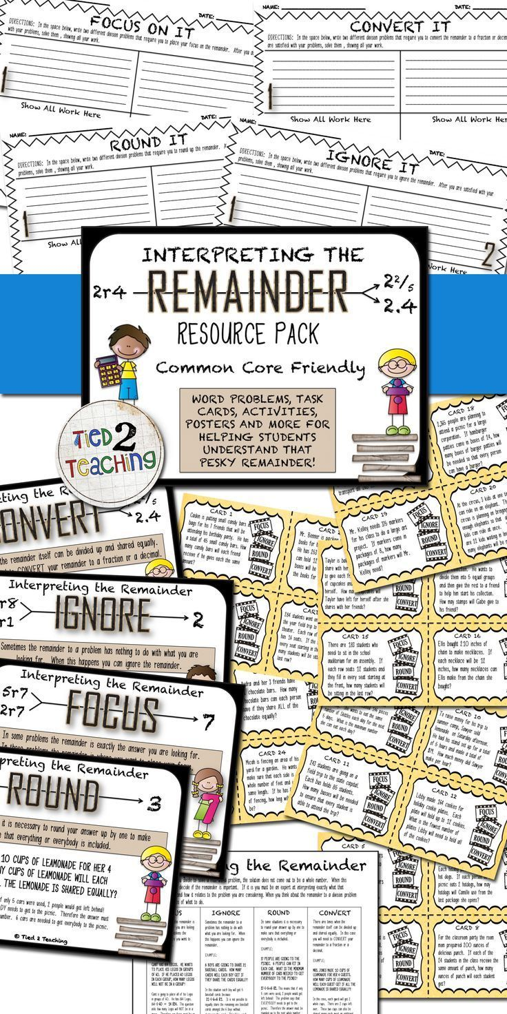 In this pack you will receive 24 unique, differentiated, Common Core Friendly, task cards that will help students develop their understanding of the remainder. In addition, this pack also includes 4 concise organizers that challenge students to create different types of different problems, helping to deepen their knowledge. Also included are 4 attractive posters for classroom use and a student handout explaining the 4 ways they will be expected to interpret the remainder.