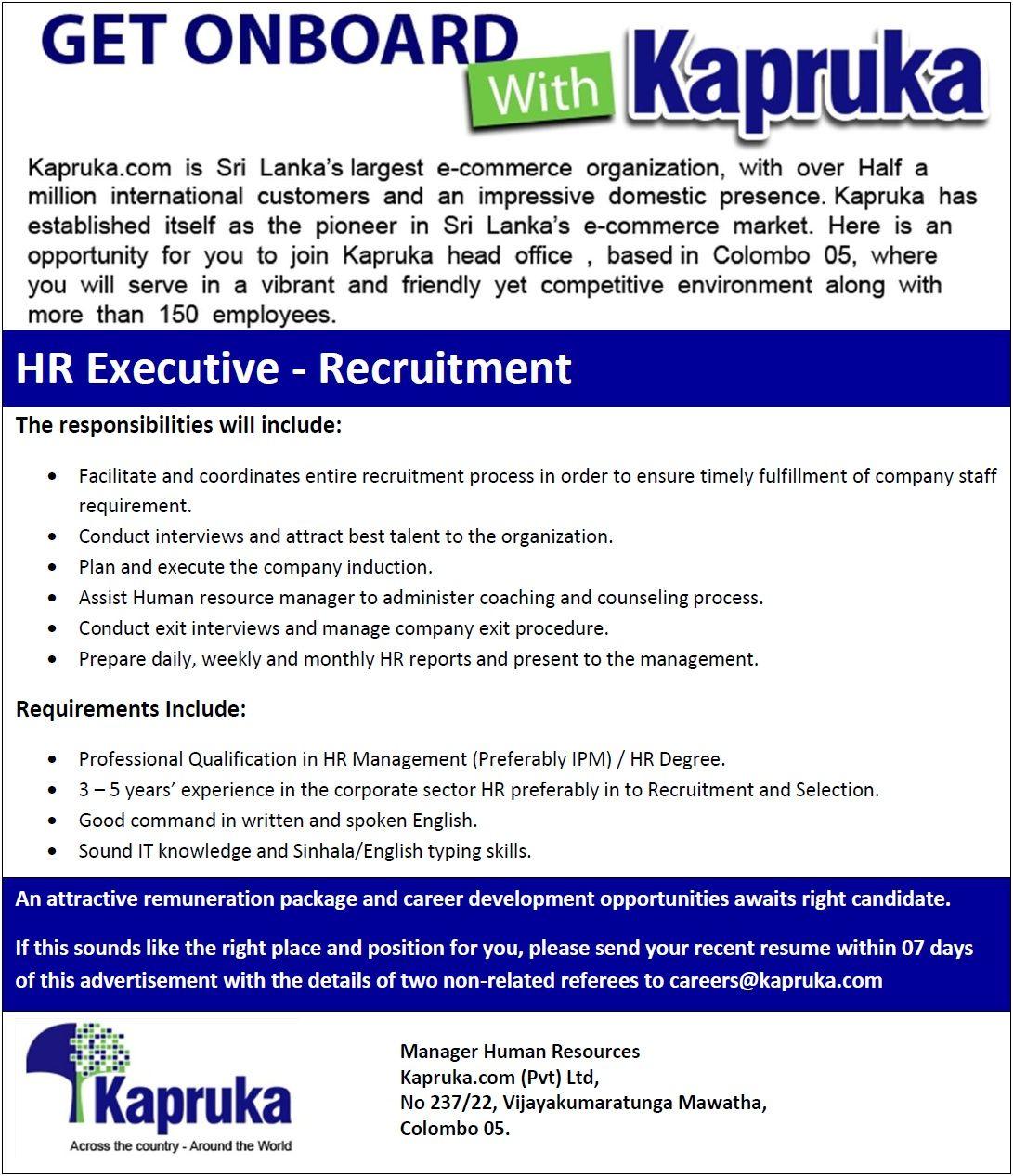 hr generalist resume sample india