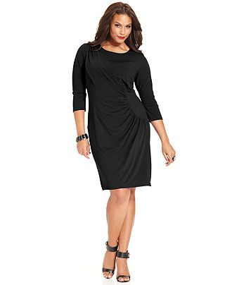 Spense Plus Size Three-Quarter-Sleeve Ruched Faux-Wrap Dress - Plus Size Dresses - Plus Sizes - Macy's