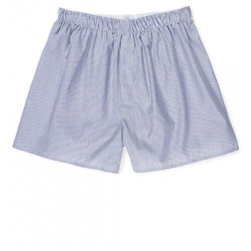 Men's Cotton Poplin Boxer Shorts in White/Navy/Light Blue ...