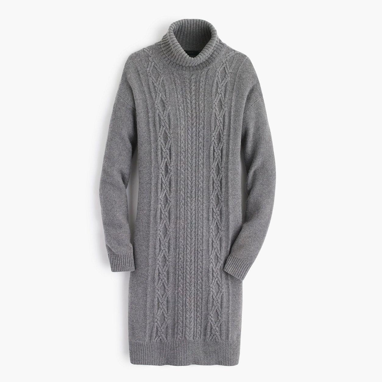 ef2179b59ec J.Crew Womens Cable Turtleneck Sweater-Dress (Size L)