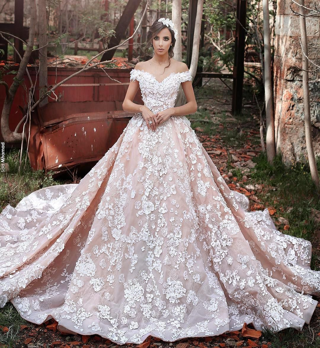 Pink and ivory wedding dress  Offtheshoulder gowns are one of the biggest bridal trends of the