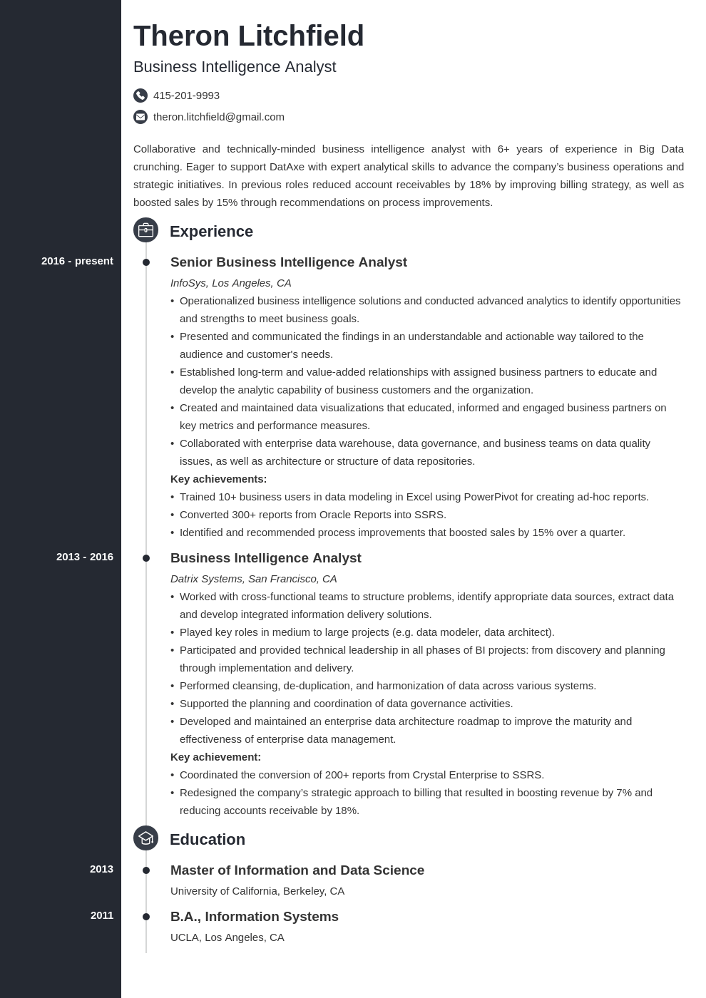 Business Intelligence Resume Example Template Concept Business Intelligence Resume Examples Job Resume Examples