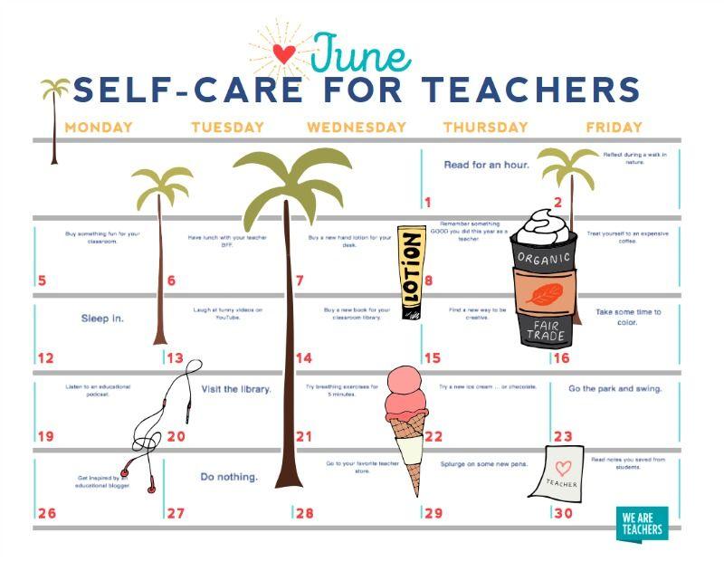 FREE PRINTABLE June SelfCare Calendar for Teachers