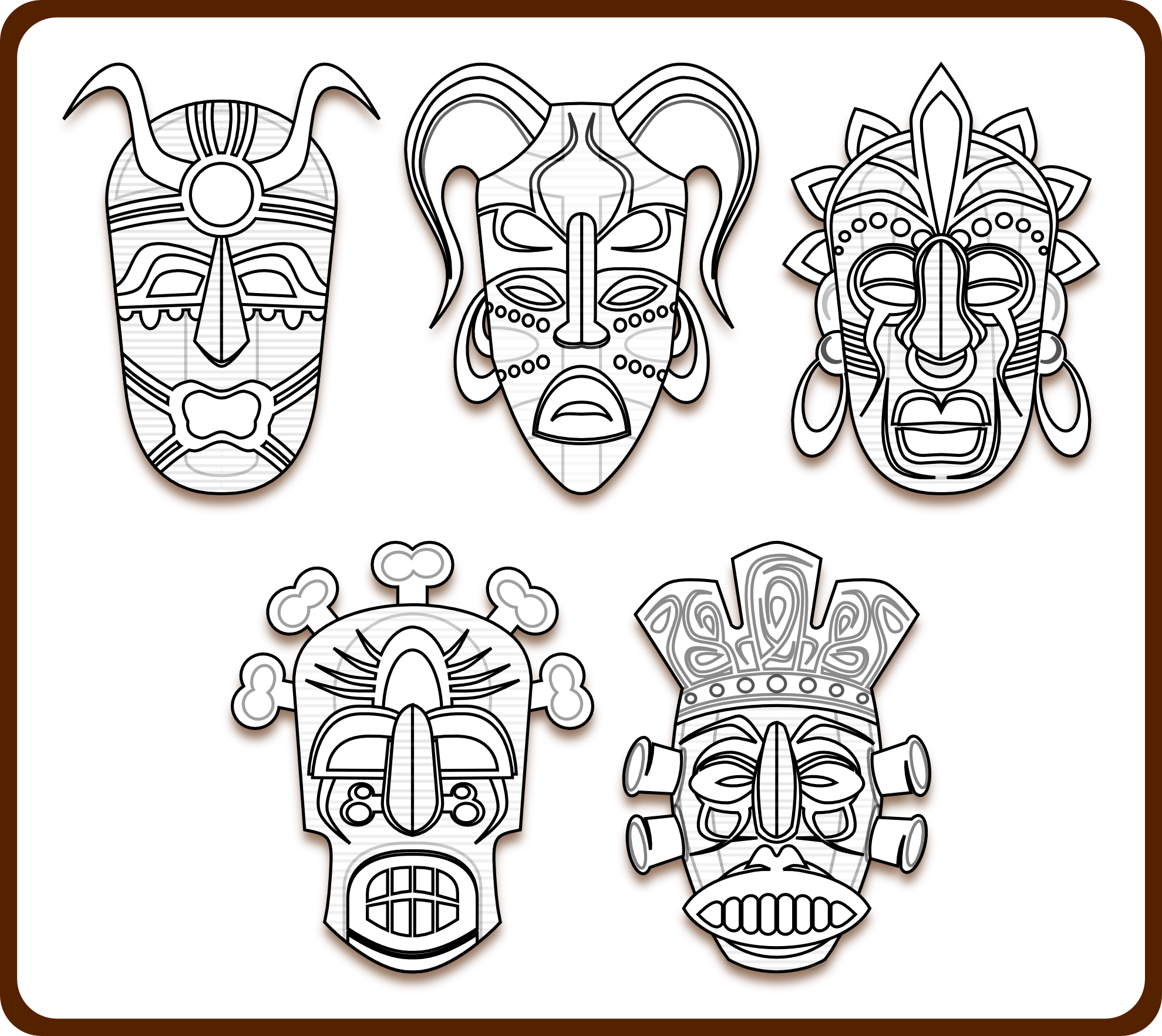 Tribal Mask Tribal Masks Art Coloring Book Colouring Sheet Page Black White Line Masks Art African Masks African Art