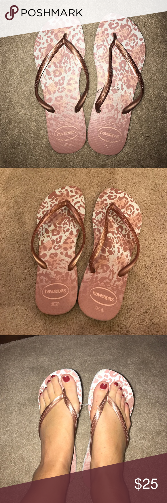 Rose gold cheetah havaianas Brand new never worn outside